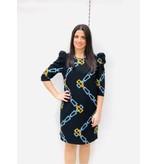 Rinascimento Rinascimento jurk met kettingprint en pofmouwen zwart