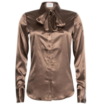 Est'seven Est'Seven Satin Stretch blouse Tobacco