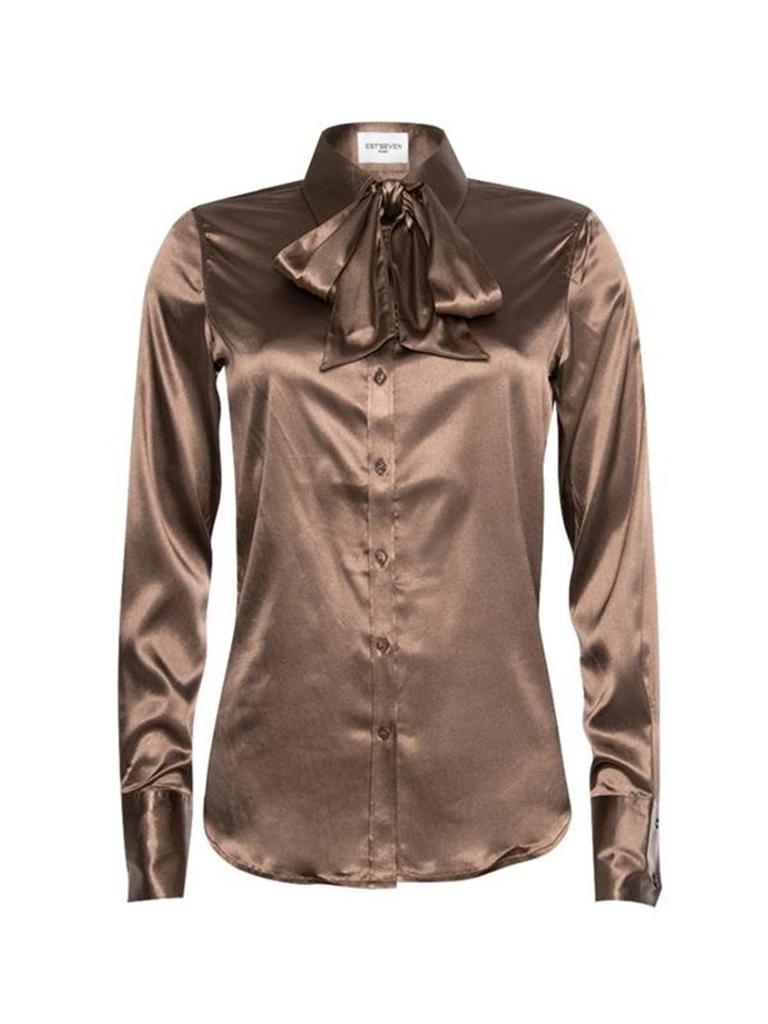 Est'seven Est'Seven Satin Stretch blouse Tobacco
