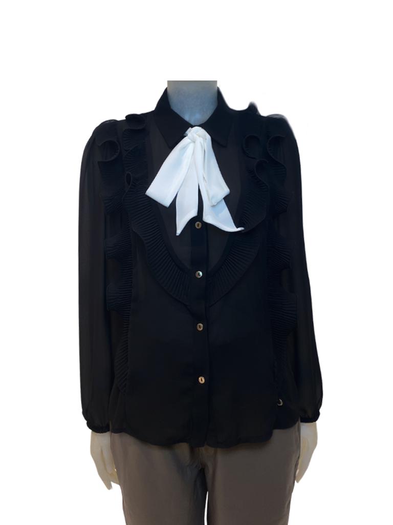 Rinascimento Rinascimento blouse with ruffles and black bow