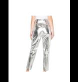 Est'seven Est'Seven leather ruffle pants silver