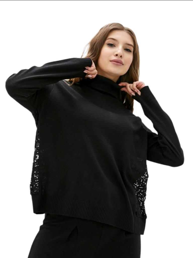 Rinascimento Rinascimento turtleneck sweater with lace detail in black