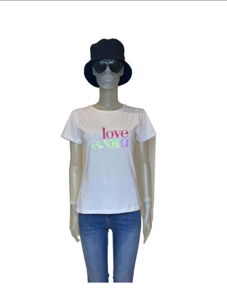 Rinascimento Rinascimento Love t-shirt met print wit