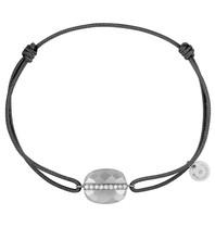 Morganne Bello Morganne Bello koord armband moonstone met diamant donkergrijs