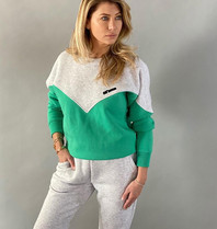 Est'seven Est'Seven Logo sweater kelly green / grey