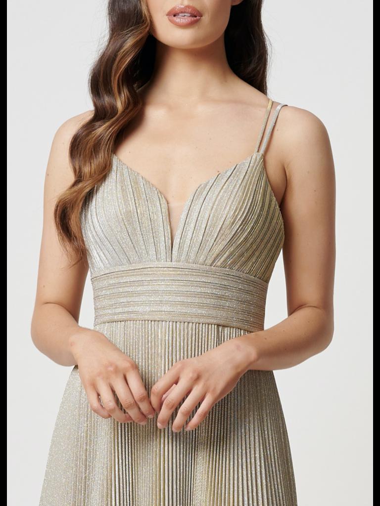 Forever Unique Forever Unique Galax maxi jurk met plissé goud