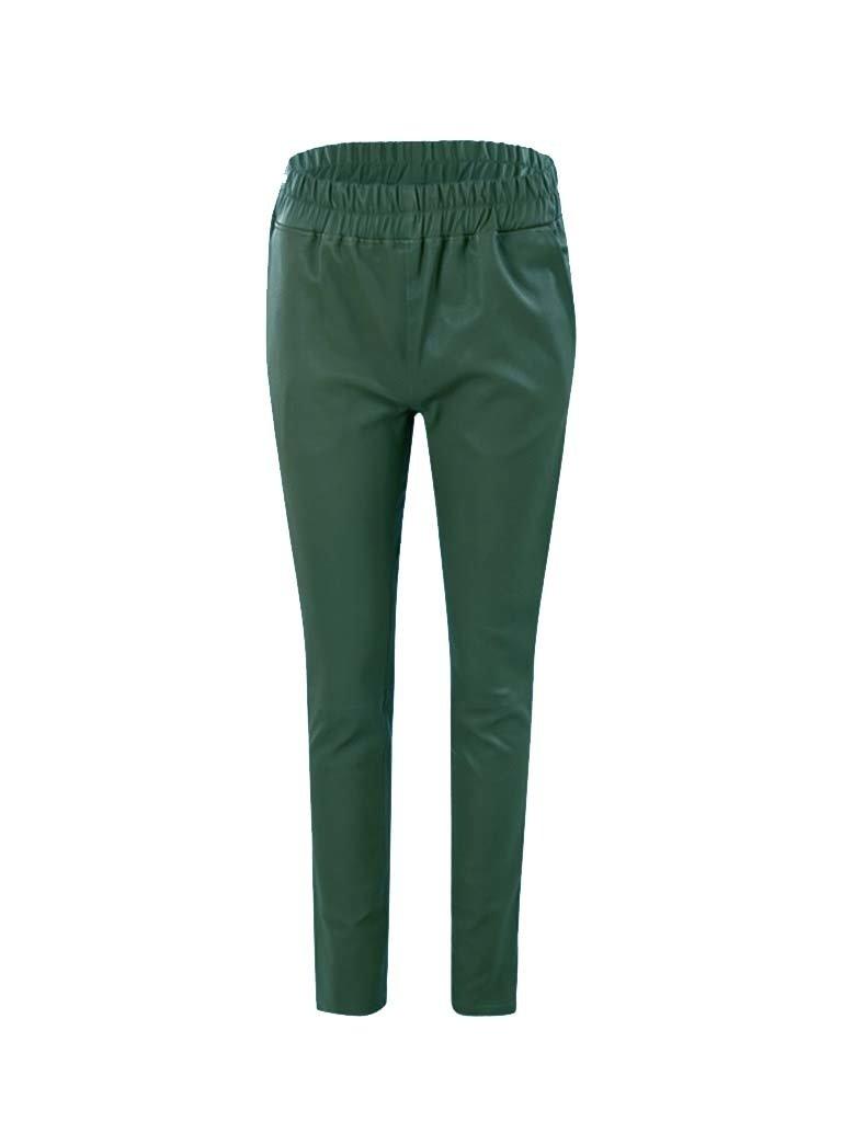 Est'seven Est'Seven leren boyfriend chino emerald green