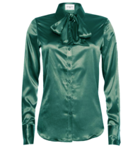 Est'seven Est'Seven Satin Stretch blouse emerald green