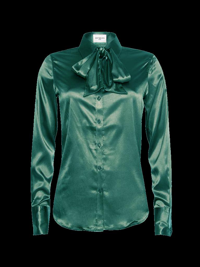 Est'seven Est'Seven Satin Stretch blouse emerald green