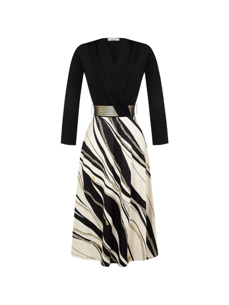Rinascimento Rinascimento midi jurk met kettingdetails zwart