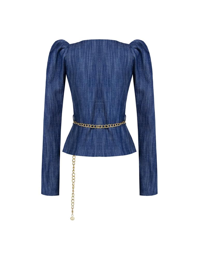 Rinascimento Rinascimento denim jacket met pofmouwen en ceintuur