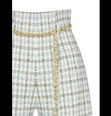 Rinascimento Rinascimento tweed short met ceintuur lichtblauw
