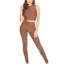 La Sisters LA Sisters honeycomb high waisted legging bruin