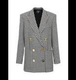 Balmain Balmain oversized double-breasted blazer pied de poule zwart wit