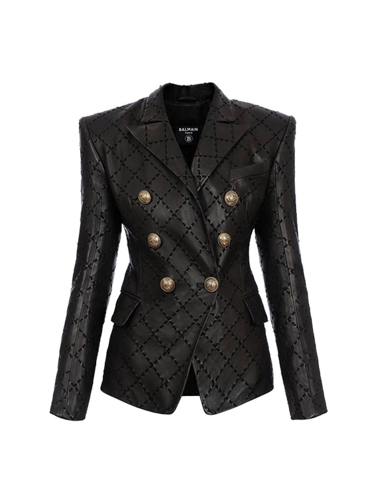 Balmain Balmain leather double-breasted blazer with black stitching