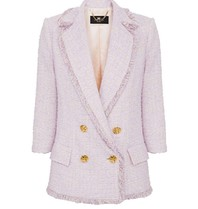 Elisabetta Franchi Elisabetta Franchi double-breasted tweed blazer paars
