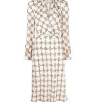 Elisabetta Franchi Elisabetta Franchi midi jurk met print beige