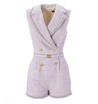 Elisabetta Franchi Elisabetta Franchi double-breasted tweed playsuit paars