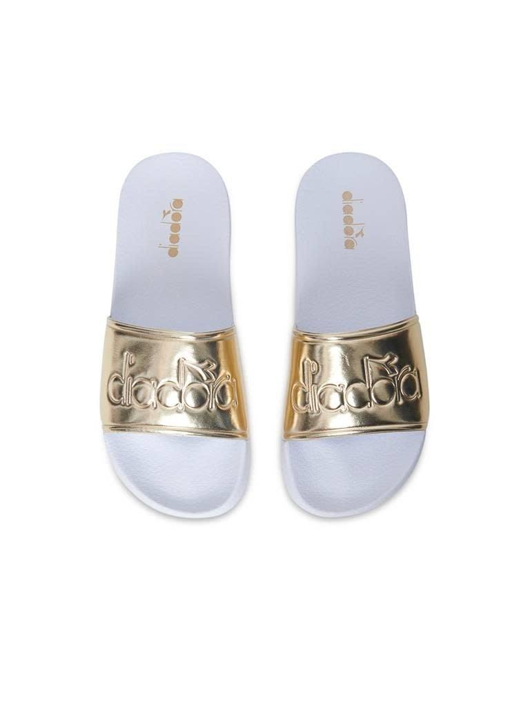 Diadora Diadora slipper wit goud