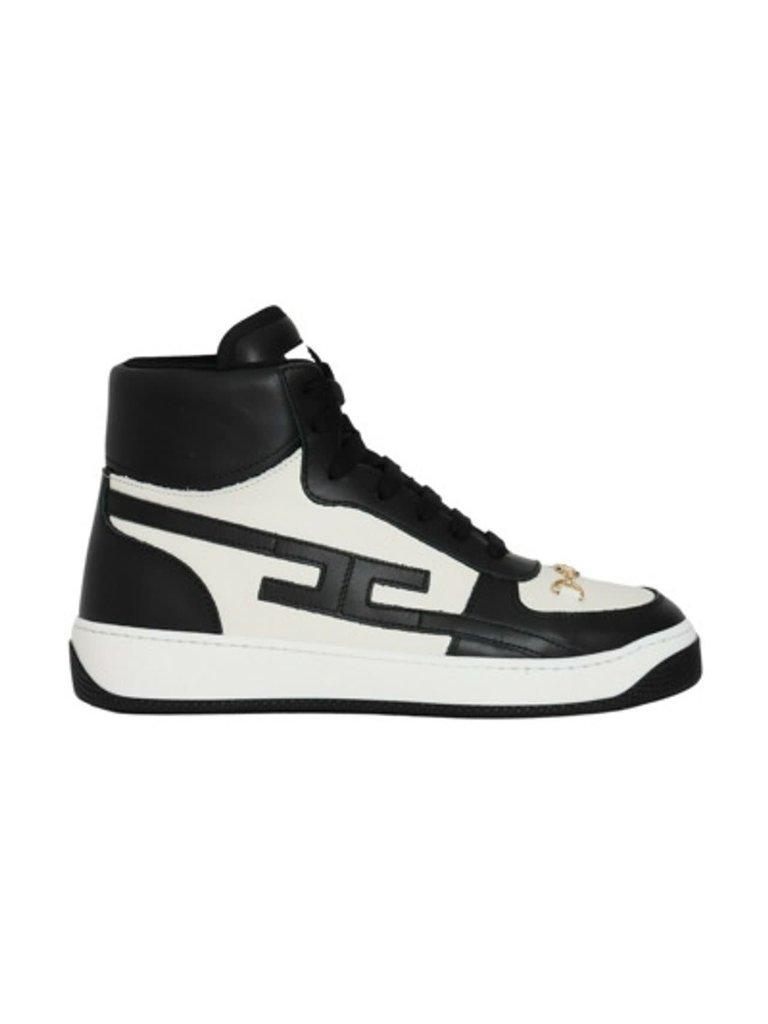 Elisabetta Franchi Elisabetta Franchi hoge sneaker met chain zwart wit