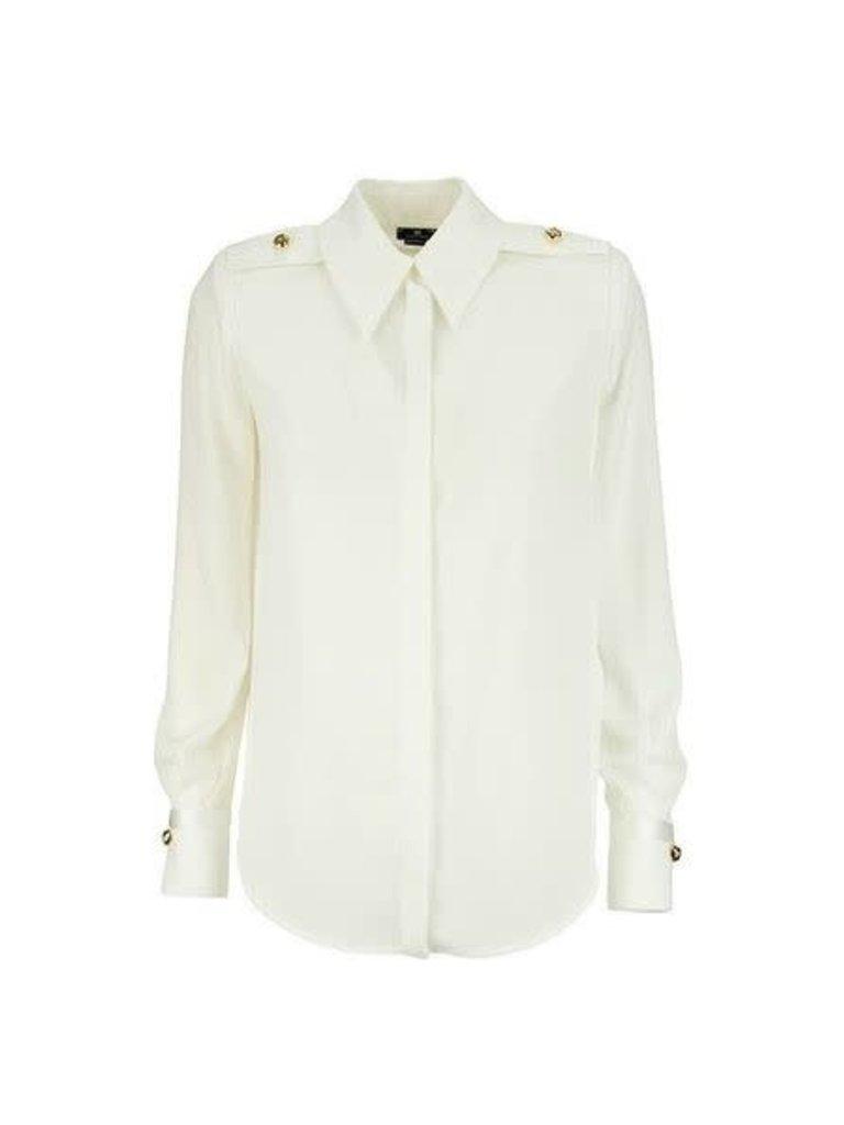 Elisabetta Franchi Elisabetta Franchi blouse met schoudervullingen wit