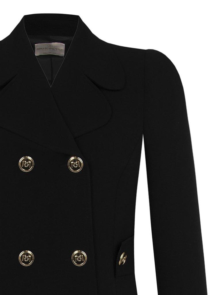 Rinascimento Rinascimento lange blazer met double breasted knopen zwart