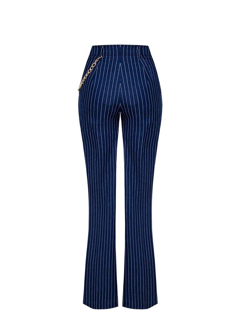 Rinascimento Rinascimento pantalon met krijtstrepen en detail blauw