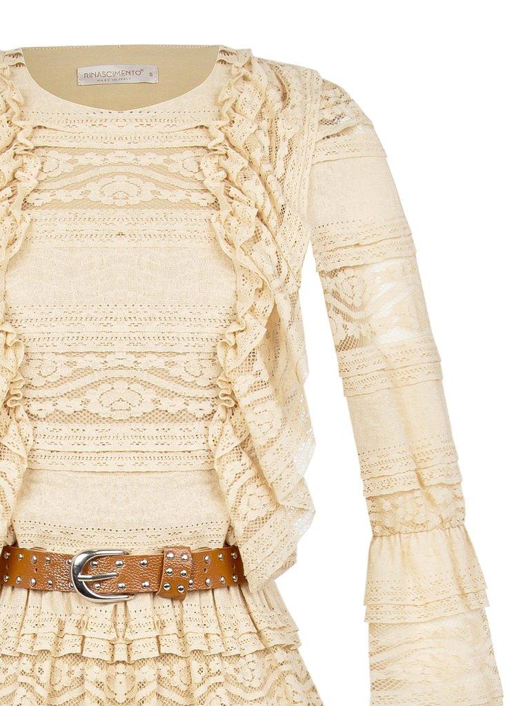 Rinascimento Rinascimento maxi jurk met ceintuur en kanten details beige