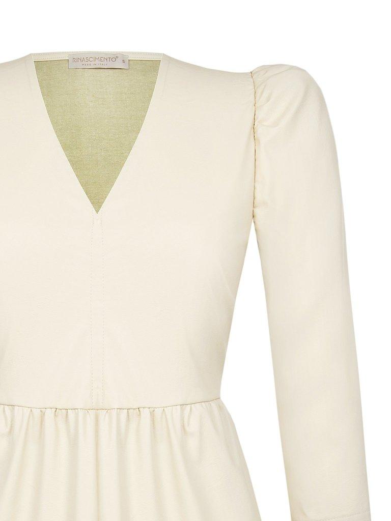 Rinascimento Rinascimento jurk met pofmouwen en ruffles creme