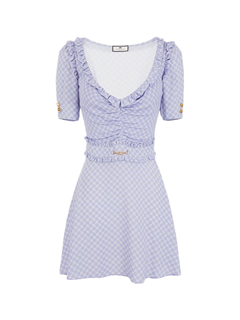 Elisabetta Franchi Elisabetta Franchi mini jurk met ruches en print lila