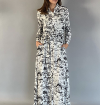 Est'seven Est'Seven Maxi dress Signature Animal Kingdom zwart wit
