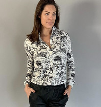 Est'seven Est'Seven Bow Blouse Signature animal kingdom zwart wit