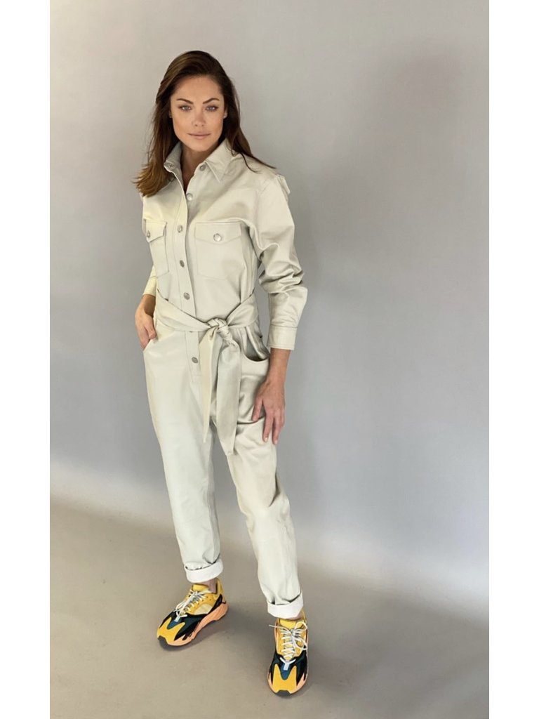 Est'seven Est'Seven Leather jumpsuit VLVT off white