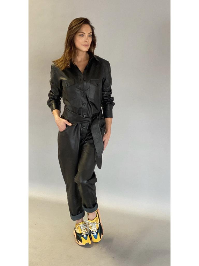 Est'seven Est'Seven Leather jumpsuit VLVT zwart