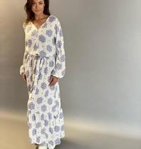 Est'seven Est'seven Paris maxi jurk met print wit blauw