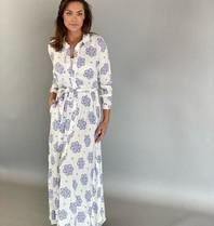 Est'seven Est'Seven Rio maxi jurk met print wit blauw