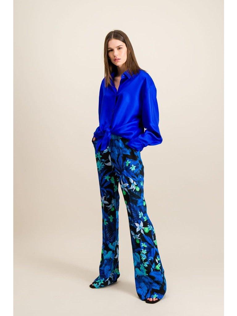 DMN Paris DMN Paris Chloe zijde blouse twill cobalt