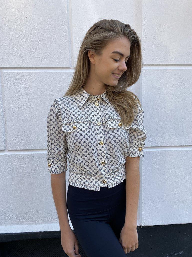 Elisabetta Franchi Elisabetta Franchi cropped blouse met print beige