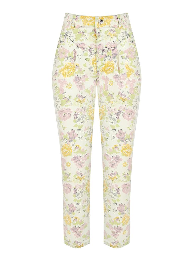 Rinascimento Rinascimento losvallende jeans met bloemenprint multicolor