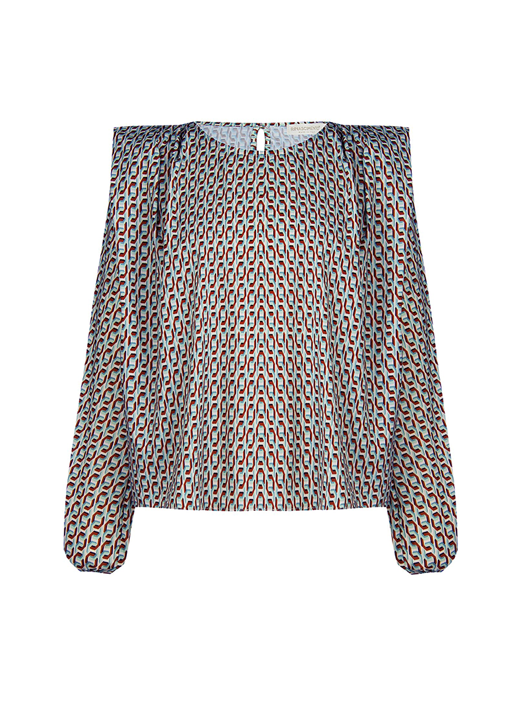 Rinascimento Copy of Rinascimento blouse met schoudervulling wit