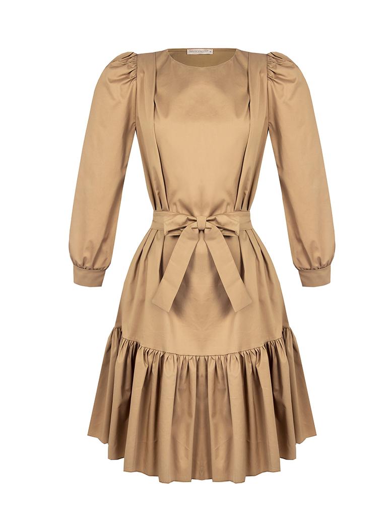 Rinascimento Rinascimento jurk met pofmouwen en ceintuur beige