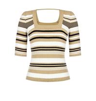 Rinascimento Rinascimento tricot top met strepen beige