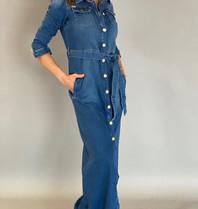 Est'seven Est'Seven Button down jeans dress blauw