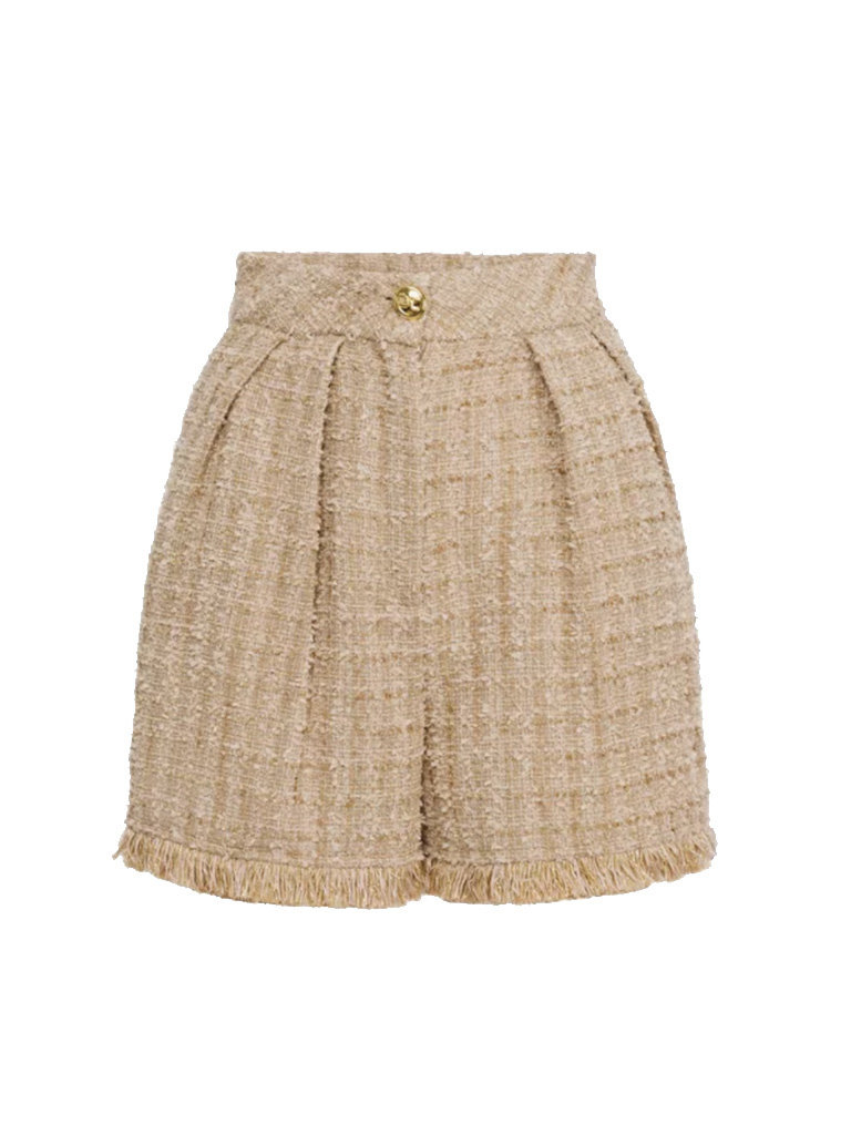 Elisabetta Franchi Elisabetta Franchi high waist tweed shorts champagne