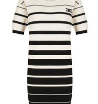 Elisabetta Franchi Elisabetta Franchi tricot jurk met strepenprint zwart creme