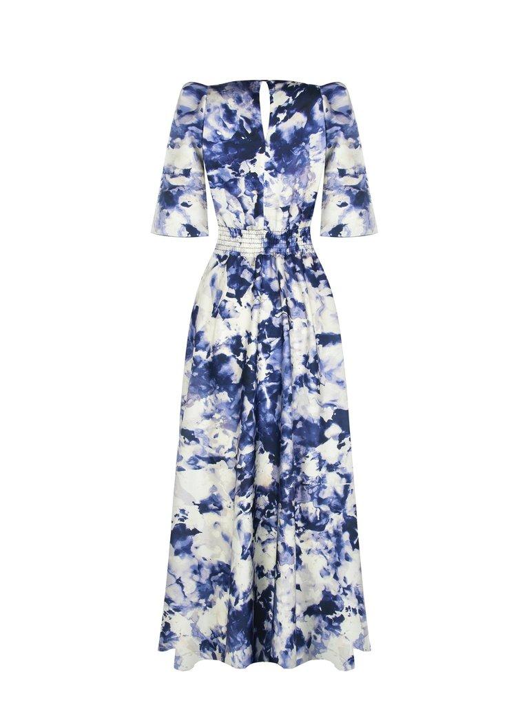 Rinascimento Rinascimento maxi jurk met volants en print blauw