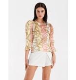 Rinascimento Rinascimento blouse met kettingprint multicolor roze