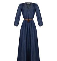 Rinascimento Rinascimento maxi jurk met ceintuur donkerblauw