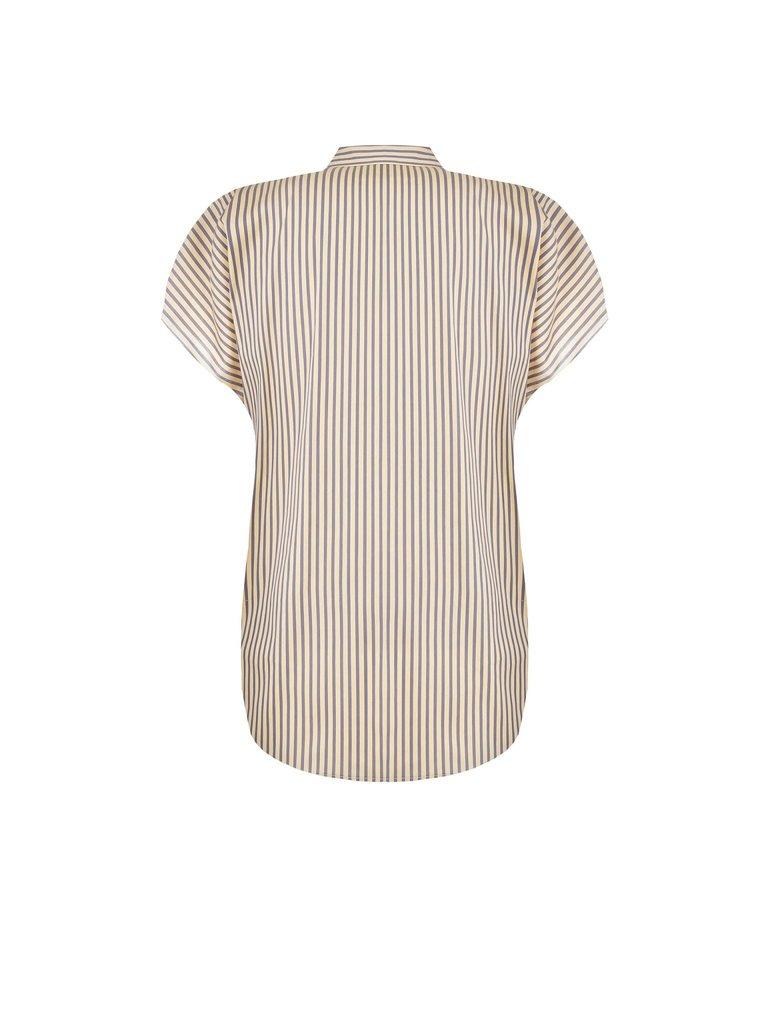 Rinascimento Rinascimento gestreepte blouse met volants blauw beige