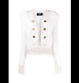 Balmain Balmain tweed jacket met franjes ecru